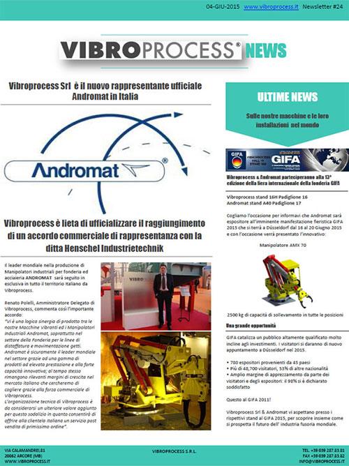 Vibroprocess Srl è il nuovo rappresentante ufficiale Andromat in Italia
